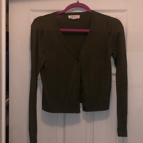 Forever 21 Sweaters - Green crop Cardigan